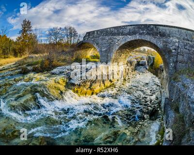 Slap Sopot waterfall natural landmark near Pican in Istria Croatia - Stock Image