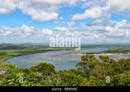 Scenic view of the Endeavour River seen from Grassy Hill lookout, Cooktown, Far North Queensland, QLD, FNQ, Australia - Stock Image