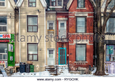 Old Victorian row houses townhouses terrace houses on Elm Street in Old Toronto Ontario Canada - Stock Image