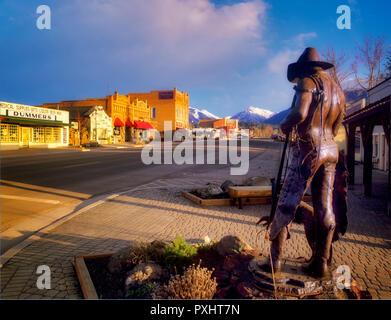 Downtown Joseph with Wallowa Mountains. Oregon - Stock Image