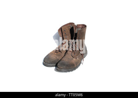 brown safety shoes on isolated - Stock Image