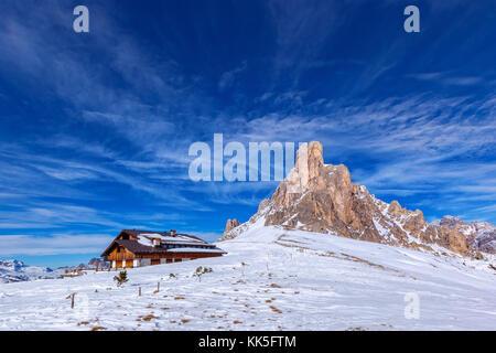 snow landscape of Passo Giau, Dolomites, Italy - Stock Image