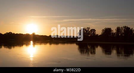 The River Elbe at Dassau, in Saxony Anhalt, Germany. The waterway is seen in summertime. - Stock Image