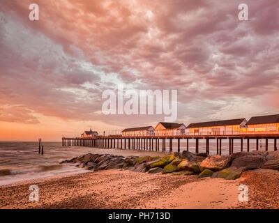 Southwold Pier at sunrise, Southwold, Suffolk, England. - Stock Image