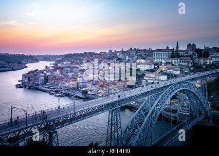 Porto, cityscape and bridge at sunset, Portugal, Europe - Stock Image