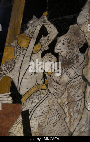 stone and mosaic work inside the dome duomo in the beautiful Italian city of Siena - Stock Image