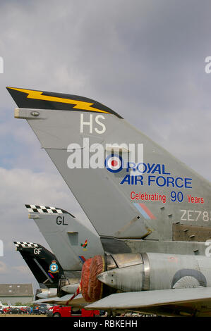 RAF Royal Air Force Panavia Tornado F3 jet fighter plane tail with 90th anniversary scheme. Celebrating 90 years of RAF. Space for copy - Stock Image