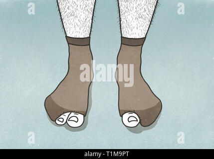Big toes sticking out of holes in mans socks - Stock Image