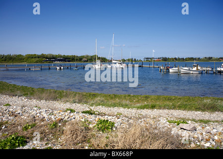 Boats moorded at Fyns Hoved  (Funen's Head), Funen, Denmark, Danish, boat, boating, nautical, rigging, masts, - Stock Image