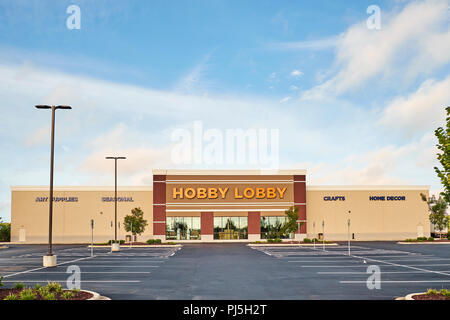 Hobby Lobby front exterior entrance of the arts and crafts super store or big box store showing the logo, in Montgomery Alabama, USA. - Stock Image