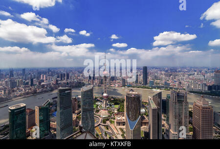 Oriental Pearl Tower seen from Jon Mao Tower - Stock Image