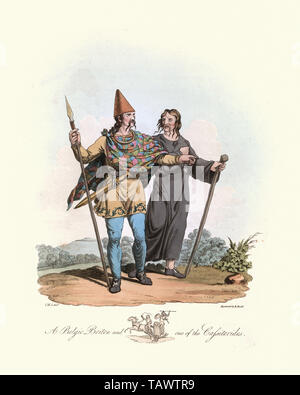 Begic Briton and one of the Cassiterides. 1815, The Costume of the Original Inhabitants of the British Islands, by MEYRICK, Samuel Rush and SMITH Char - Stock Image