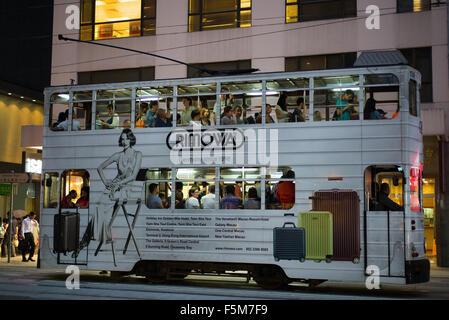 Tram passing through Wan Chai - Stock Image