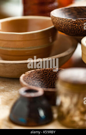 browns props, old fashion jars and bowls - Stock Image