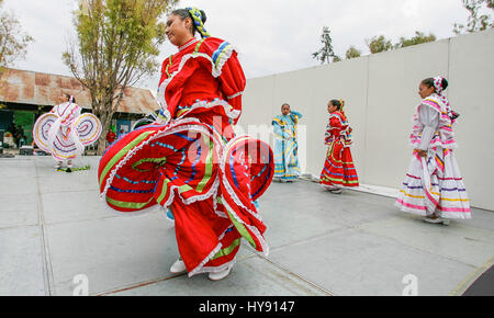 The women of these most typical group dance in Mexico 'Jarabe Tapatio' performed in Mineral de Pozos Guanajuato - Stock Image