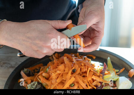 Female woman hands peeling carrots in a domestic kitchen - Stock Image
