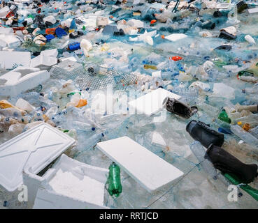 Pile of waste plastic bottles and other trash - human impact on environmental damage concept, - Stock Image