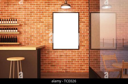 poster mockup at bar 3d rendering - Stock Image
