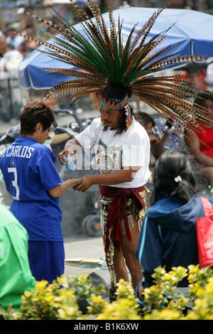 Aztec Shaman Zocalo Square Plaza de la Constitucion Mexico City Mexico - Stock Image