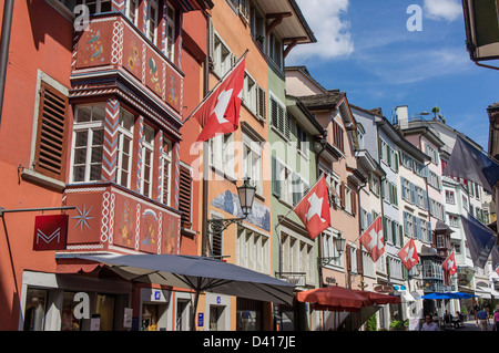 Switzerland Zurich, Augustinergasse , old city center, swiss flaggs - Stock Image