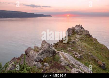 Sunset from Hurlstone Point near Porlock Exmoor Somerset Uk - Stock Image