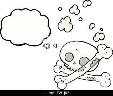 freehand drawn thought bubble cartoon old pile of bones - Stock Image
