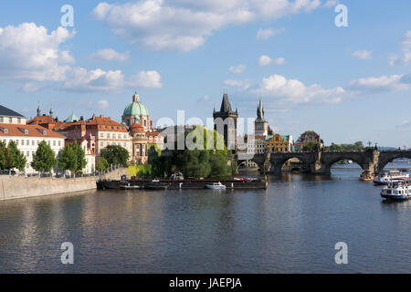 Charles Bridge and the Old Town Bridge Tower as seen from the River Vltava, Prague, Czech Republic - Stock Image