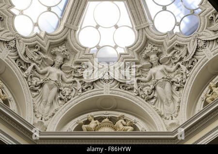 The dome at the top of the Muses' Staircase, Lancaster House, Foreign and Commonwealth Office, London, England, - Stock Image