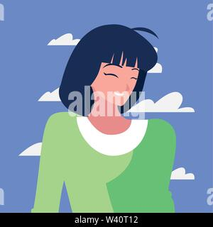 woman character portrait sky background vector illustration - Stock Image