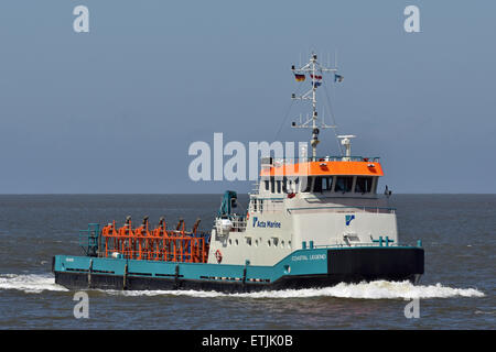 Coastal Legend returning from Mittelplate oil-rig. - Stock Image