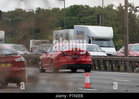 London, United Kingdom. 5 July 2018. A 'serious incident' partially closes M4 motorway eastbound at Junction 5. Credit: Peter Manning/Alamy Live News - Stock Image