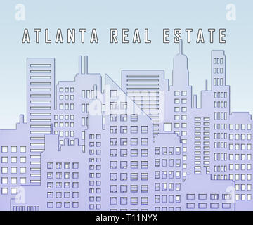 Atlanta Real Estate City Represents Housing Investment And Ownership. Selling Property In The Usa 3d Illustration. - Stock Image