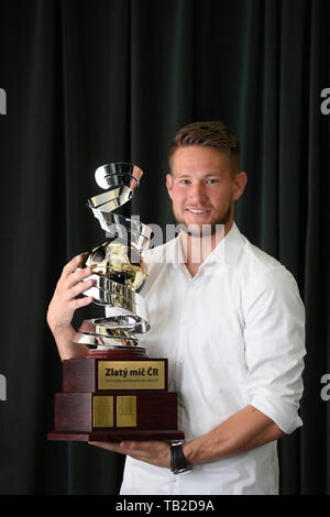 Sevilla goalkeeper Tomas Vaclik, 30, won the Golden Ball media poll on the best Czech footballer of the 2018-19 season in Prague, Czech Republic, May 30, 2019. (CTK Photo/Ondrej Deml) - Stock Image