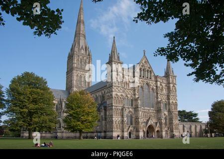 Salisbury Cathedral, Salisbury, Wiltshire, England - Stock Image