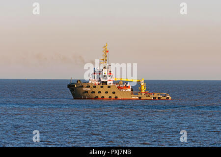 Sentosa, a vessel working on a cable laying project for SSE in the North Sea, Bawdsey, Suffolk, England. - Stock Image