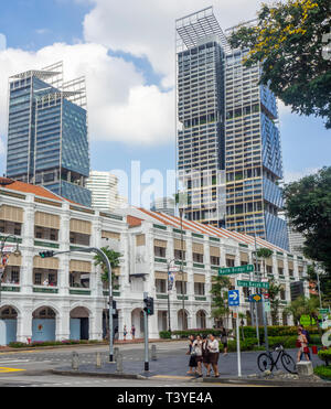 South Beach Tower and JW Marriott Hotel overlooking the Raffles Hotel, Bras Basah Singapore. - Stock Image