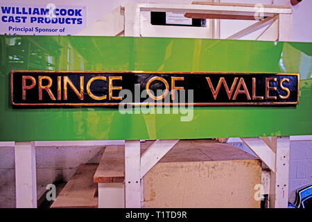 P2 Class new build 2-8-2 Steam Locomotive Prince of Wales Nameplate in Hiopetown Works, Darlington, England - Stock Image
