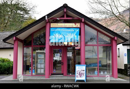 Coniston tourist information centre,Cumbria,Lake District,England,UK - Stock Image
