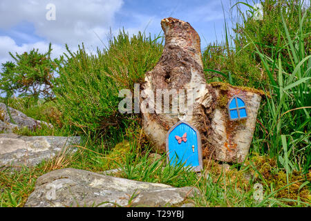 Tiny door and window added to a log to create a fairy house within green bush in Ireland - Stock Image