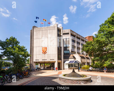 Modern civic offices of local authority, Woking Borough Council, Gloucester Square, town centre of Woking, Surrey, southeast England, UK - Stock Image