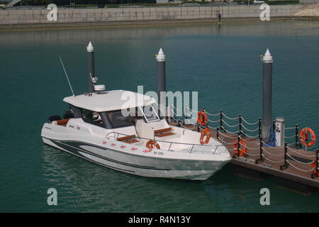 water taxi at the jetty, Bahrain Bay, Manama, Kingdom of Bahrain - Stock Image