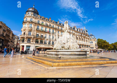 MONTPELLIER, FRANCE - SEPTEMBER 21, 2018: Fountain of the Three Graces at the Place de la Comedie, main square in Montpellier city in southern France - Stock Image