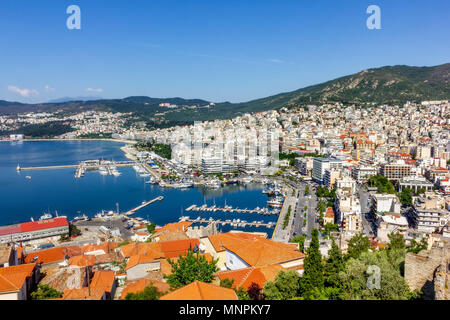 Kavala, East Macedonia and Thrace, Greece. This is a city in northern Greece, in the Macedonia-Thrace region, located on the Aegean Sea. Top view. - Stock Image
