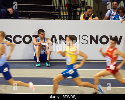 Glasgow, UK: 2st March 2019: Guy Learmonth crashed out of the Men 800m semi final on European Athletics Indoor Championships 2019.Credit: Pawel Pietraszewski/ Alamy News - Stock Image