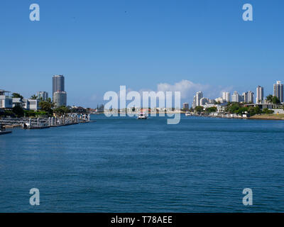 Boating On The Nerang River On The Gold Coast - Stock Image
