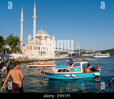 Ortakoy Mosque by the Bosphorus in Istanbul Turkey - Stock Image