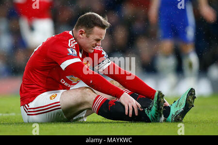 Manchester United captain Wayne Rooney could be missing for up to two months with a knee ligament injury in another massive blow to manager Louis van Gaal.  James Boardman / Telephoto Images +44 7967 642437 - Stock Image