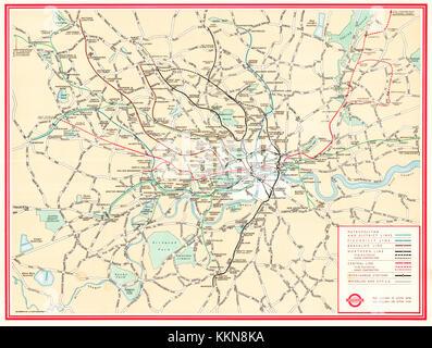 London Underground Map 1947 - Stock Image