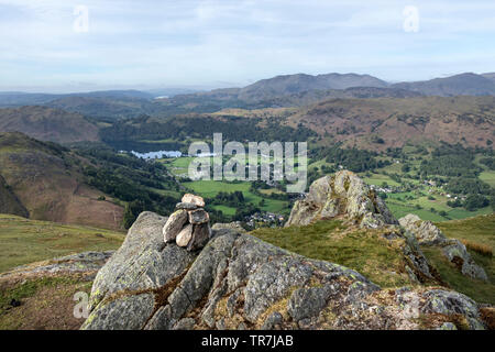 Grasmere from the Summit of Stone Arthur, Lake District, Cumbria, UK - Stock Image