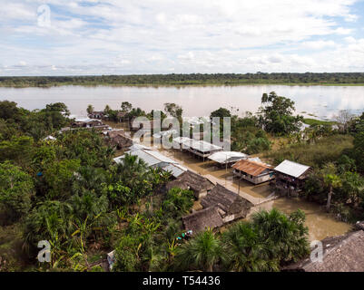 Aerial view of Clavero community during rainy season - Stock Image